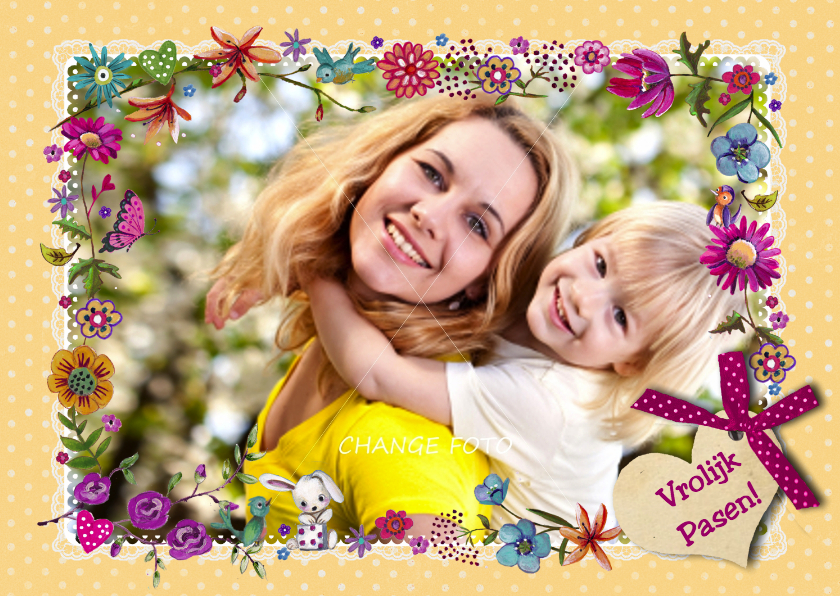 Paaskaarten - Vrolijk Pasen Geel stip Rand Foto Lente