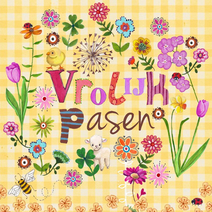 Paaskaarten - Vrolijk Pasen Letters Bloemen Kuiken