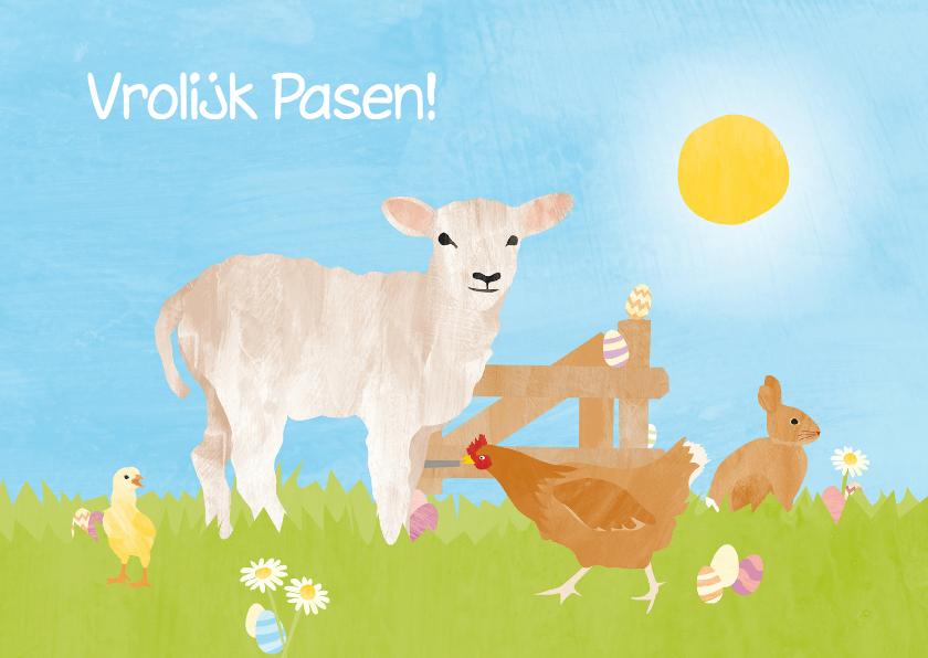 Paaskaarten - Vrolijk Pasen met lammetje