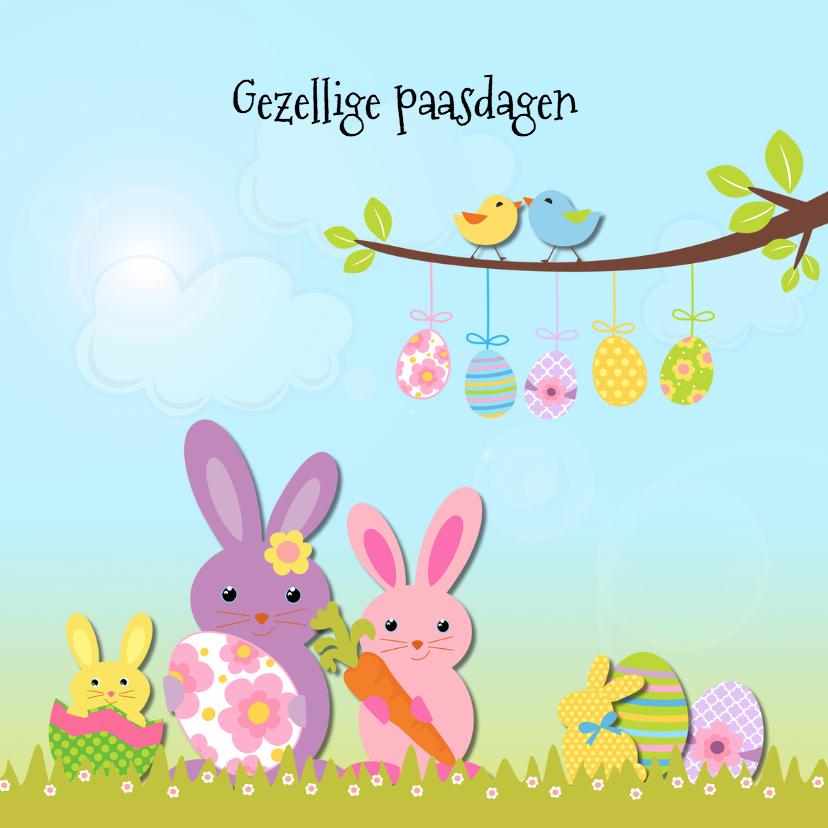 Paaskaarten - Vrolijk Pasen met paashaas