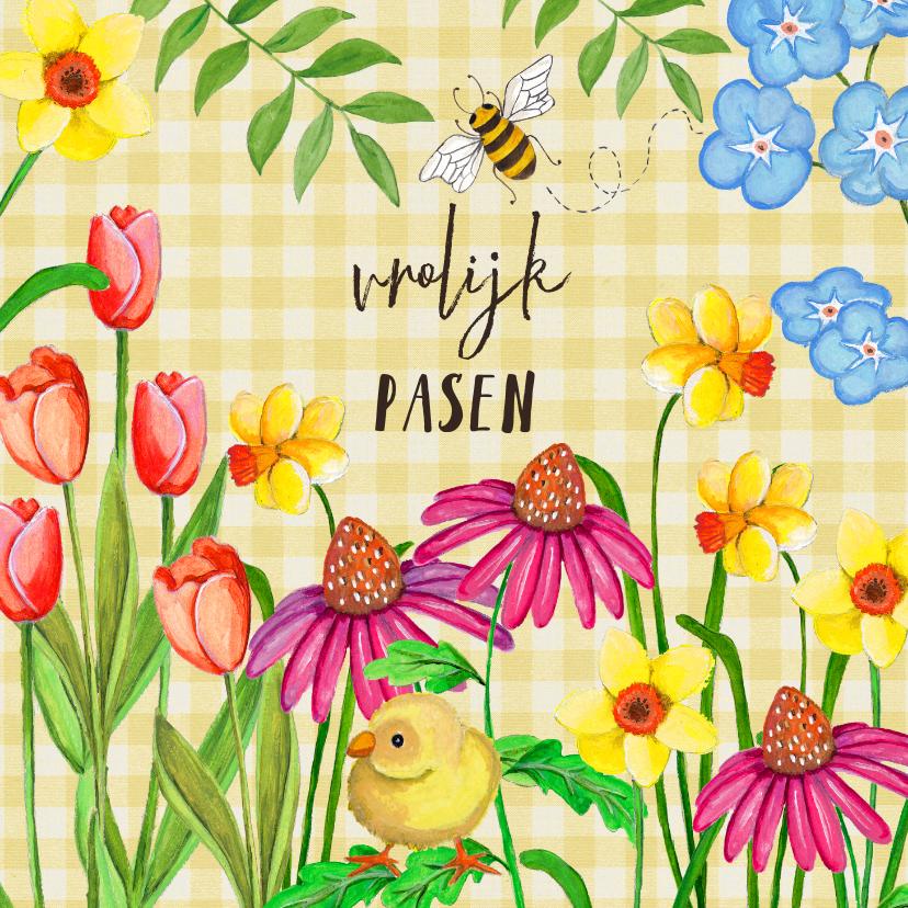 Paaskaarten - Vrolijk Pasen narcissen en tulpen bloemen.