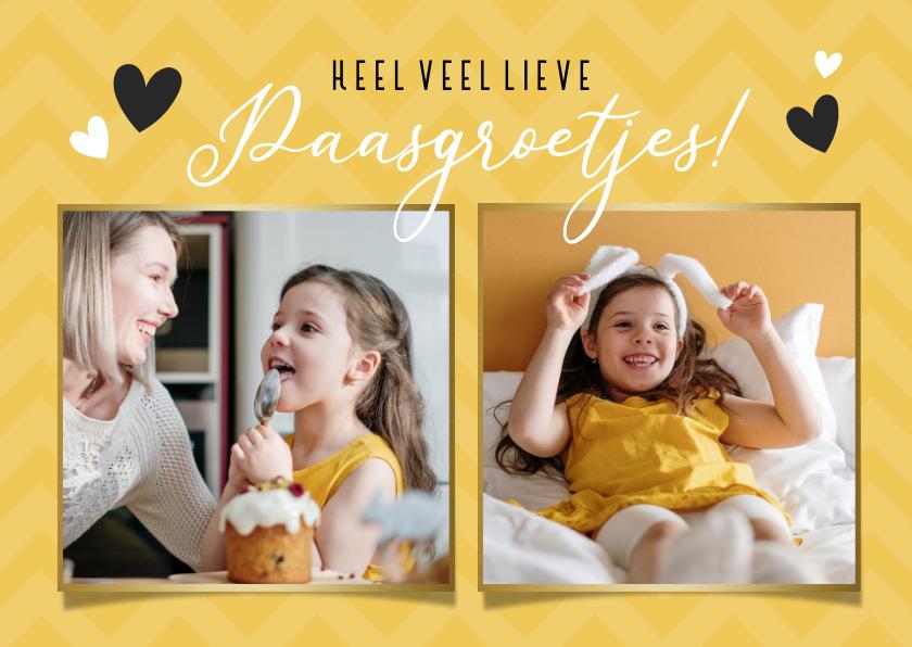 Paaskaarten - Vrolijke gele paasgroetjes paaskaart met 2 eigen foto's