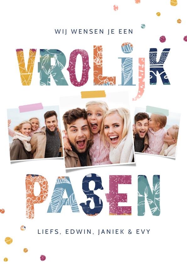 Paaskaarten - Vrolijke paaskaart kleurrijk typografisch fotocollage