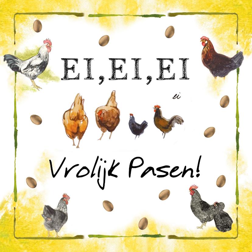 Paaskaarten - Vrolijke paaskaart met eieren, kippen en hanen