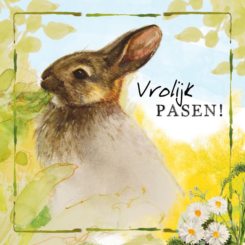Paaskaarten - Vrolijke paaskaart met konijn