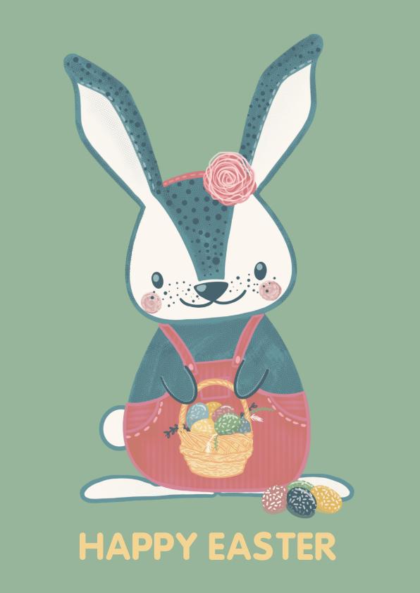 Paaskaarten - Vrolijke paaskaart met lief konijntje met mandje paaseieren