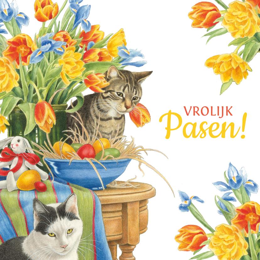 Paaskaarten - Vrolijke paaskaart met poezen en bloemen