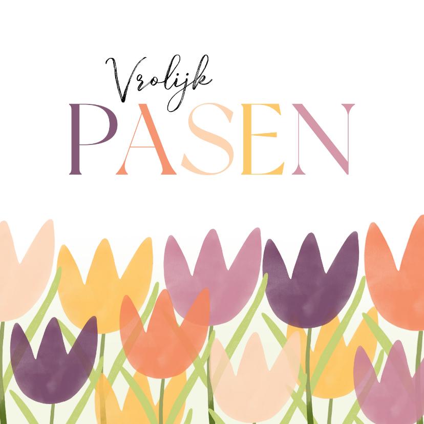 Paaskaarten - Zakelijke paaskaart vrolijk pasen met tulpen roze paars geel