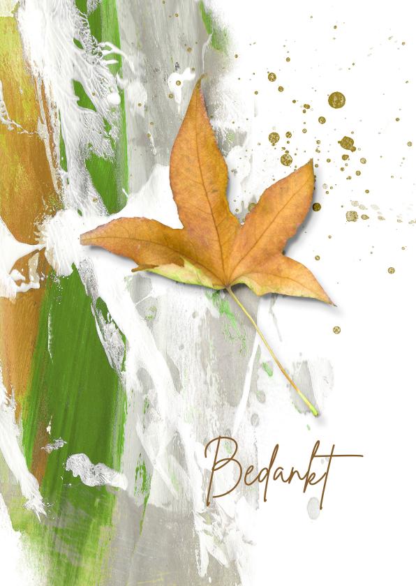 Rouwkaarten - Bedankkaart geel herfstblad met groen