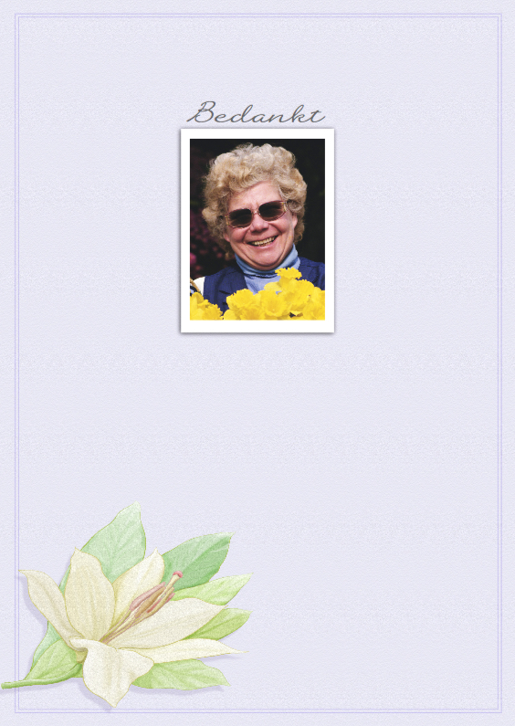 Rouwkaarten - Bedankkaart met foto, lelie en binnenin tekstvoorstel