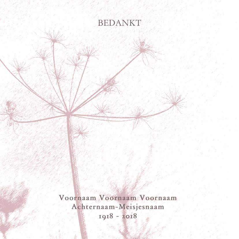 Rouwkaarten - Bedankkaart met oud roze bloem silhouet