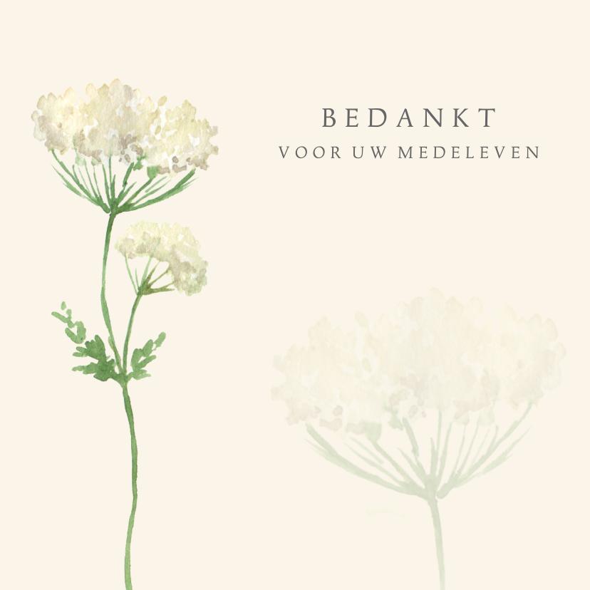 Rouwkaarten - Bedankkaart na overlijden beige bloem
