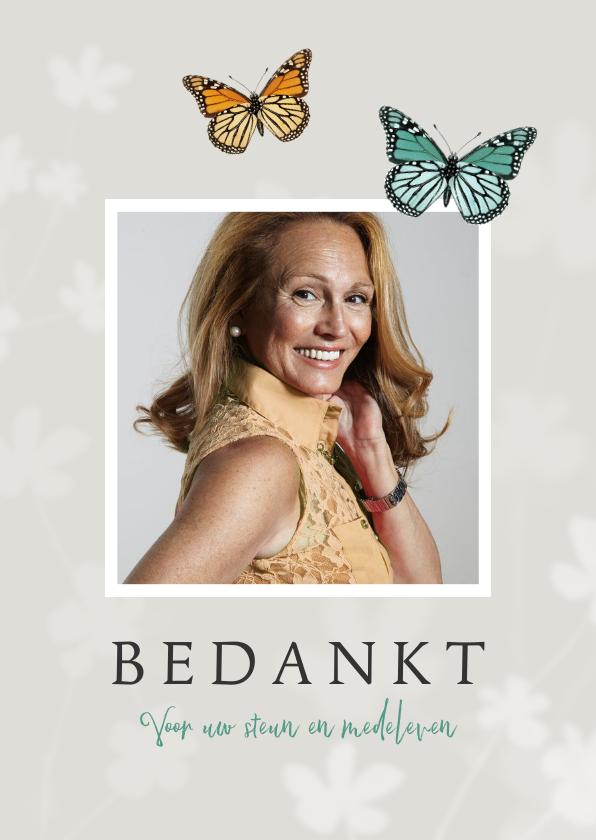 Rouwkaarten - Bedankkaart vlinders overlijden rouw bloemen foto