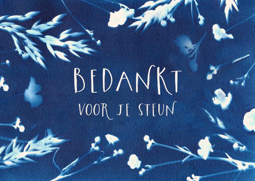 Rouwkaarten - Bedankkaart wilde bloemen blauw