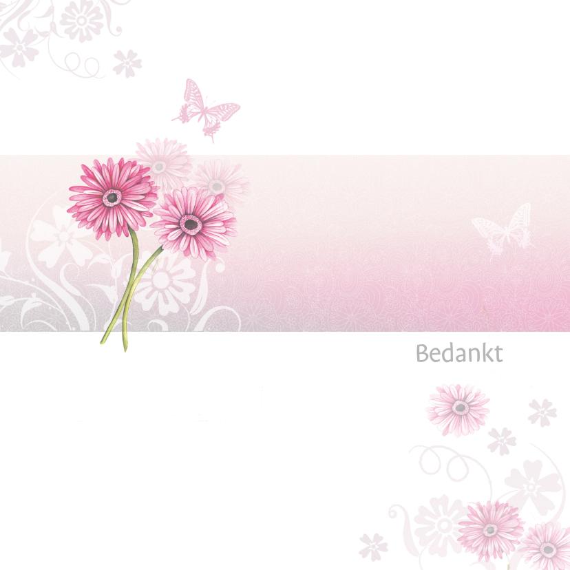 Rouwkaarten - Bedankt met roze gerbera
