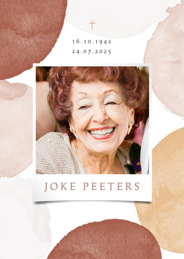 Rouwkaarten - Bidprentje vrouw stijlvol waterverf foto