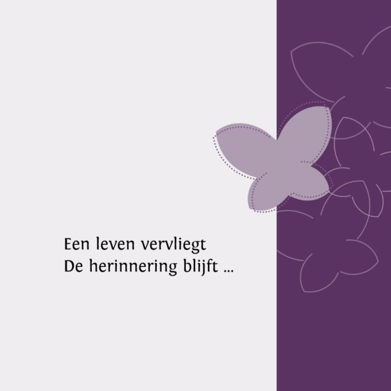 Rouwkaarten - een leven vervliegt - vlinder paars