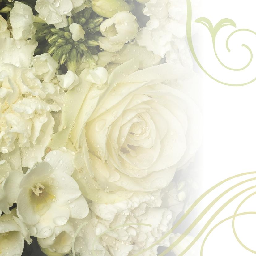 Rouwkaarten - Klassiek creme aanpasbaar bloemenboeket