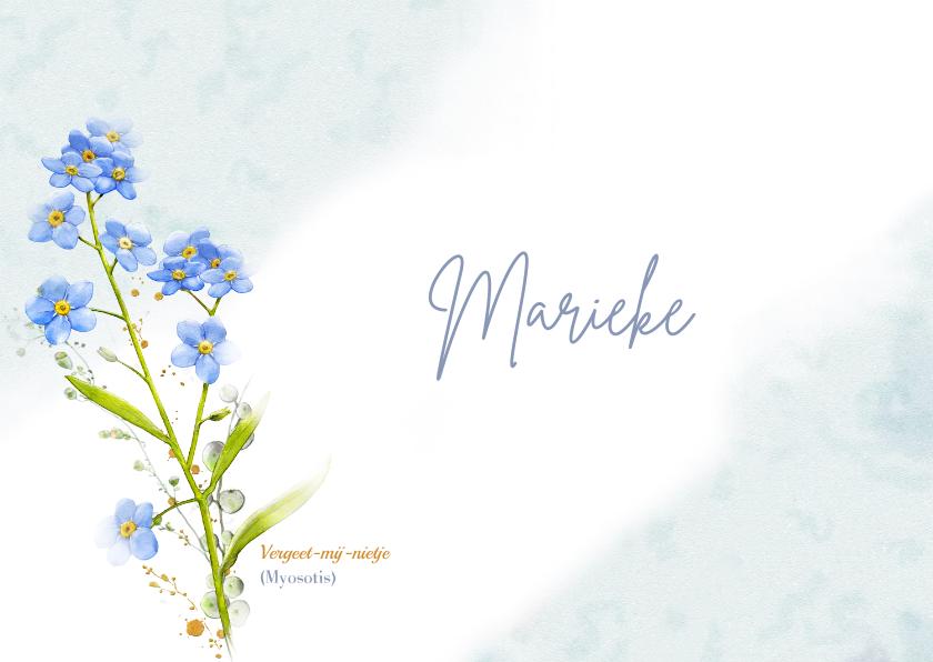 Rouwkaarten - Lieve bedankkaart met afbeelding van Vergeet-mij-nietje