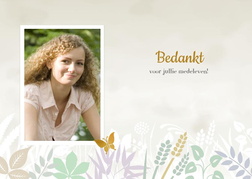 Rouwkaarten - Mooie bedankkaart met takjes en blaadjes