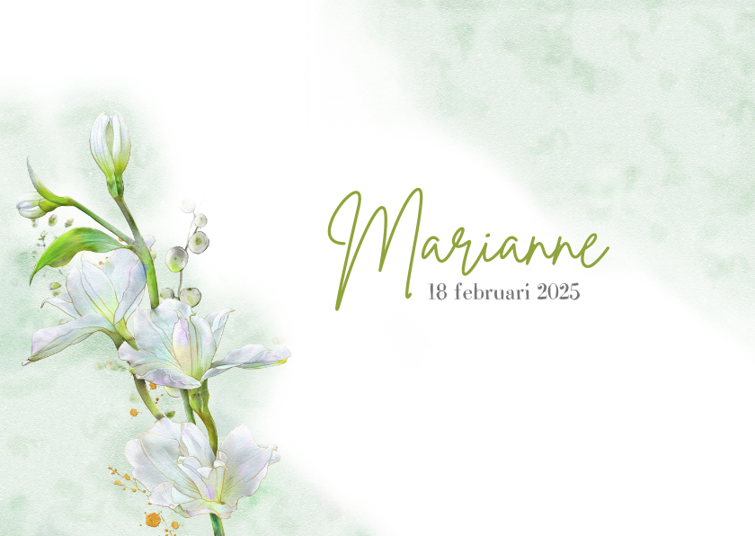 Rouwkaarten - Mooie bedankkaart met witte bloemen op waterverf