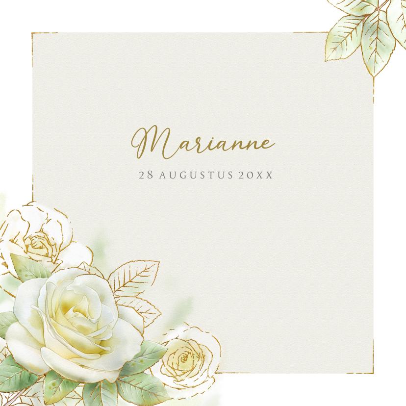Rouwkaarten - Mooie rouwkaart met een witte roos met goudlijn