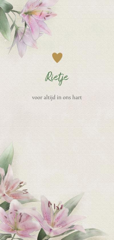 Rouwkaarten - Mooie rouwkaart met lelies getekend op gewassen achtergrond