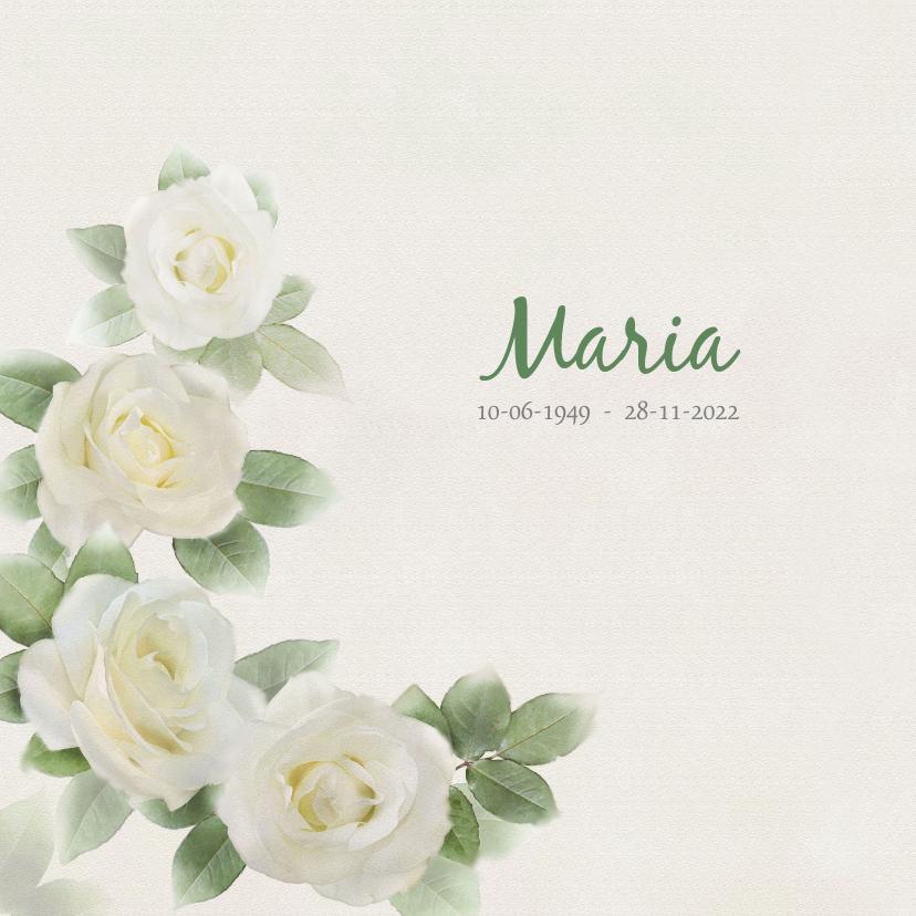 Rouwkaarten - Mooie rouwkaart met rozen op gewassen achtergrond