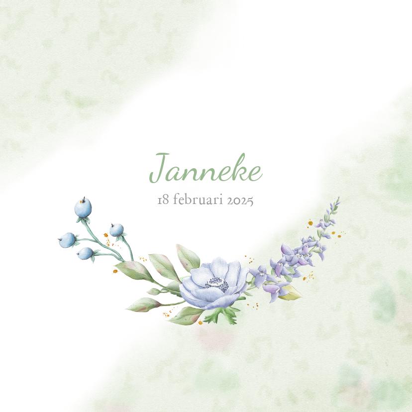 Rouwkaarten - Mooie rouwkaart met takjes en blauwe bloemen