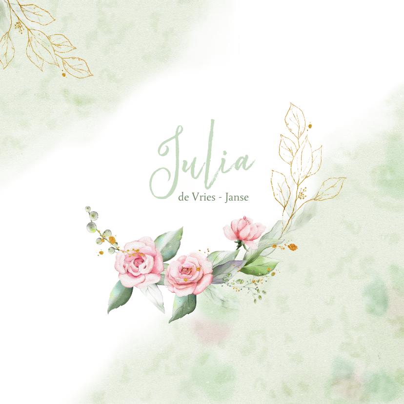 Rouwkaarten - Mooie rouwkaart met takjes en roze roosjes