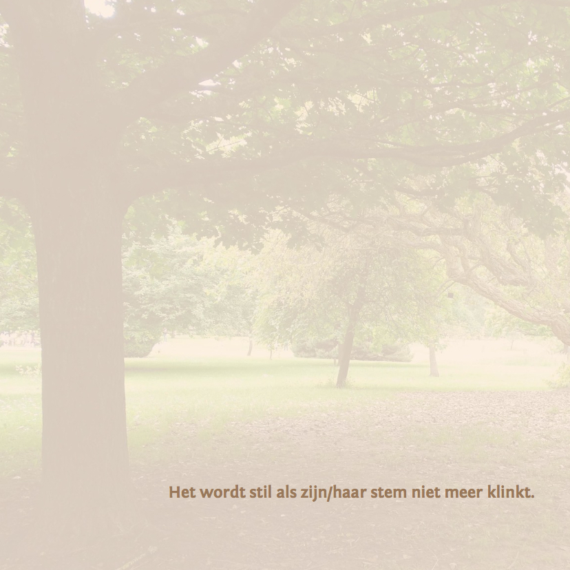 Rouwkaarten - Mooie rustige bedankkaart met de stilte van de natuur
