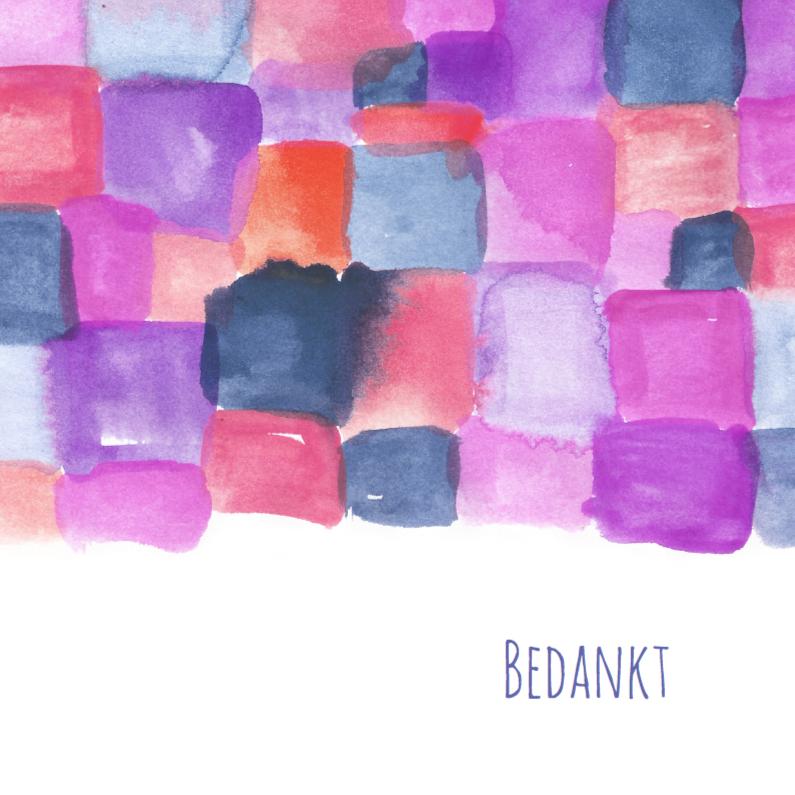 Rouwkaarten - Paarse aquarel bedankkaart