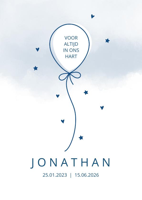 Rouwkaarten - Rouw Ballon op waterverf achtergrond blauw