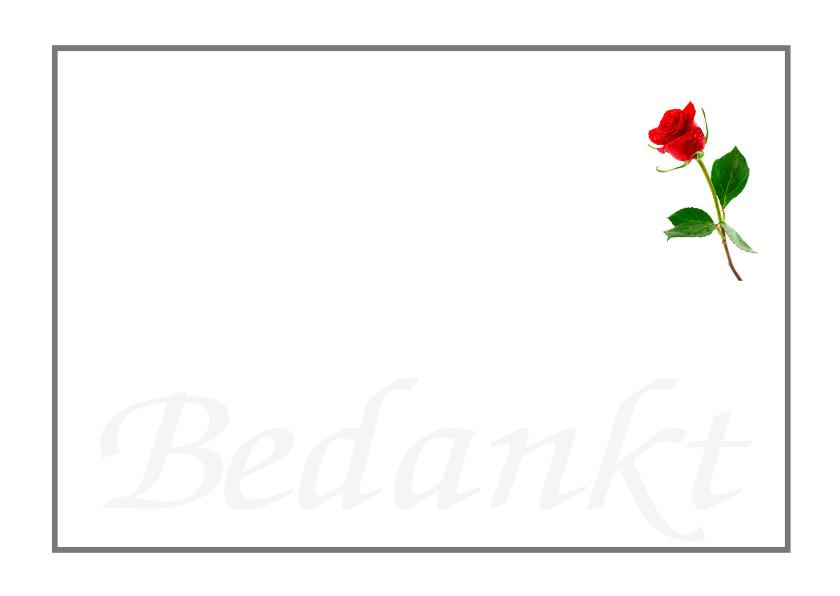 Rouwkaarten - Rouwkaart bedankkaart roos