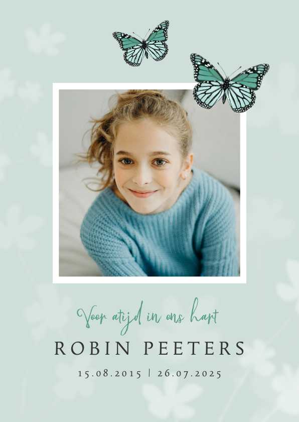 Rouwkaarten - Rouwkaart bidprentje vlinder kind foto jongen of meisje