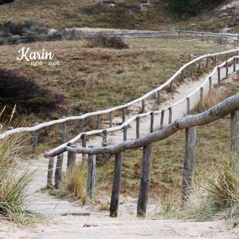 Rouwkaarten - Rouwkaart Duinen houten trap