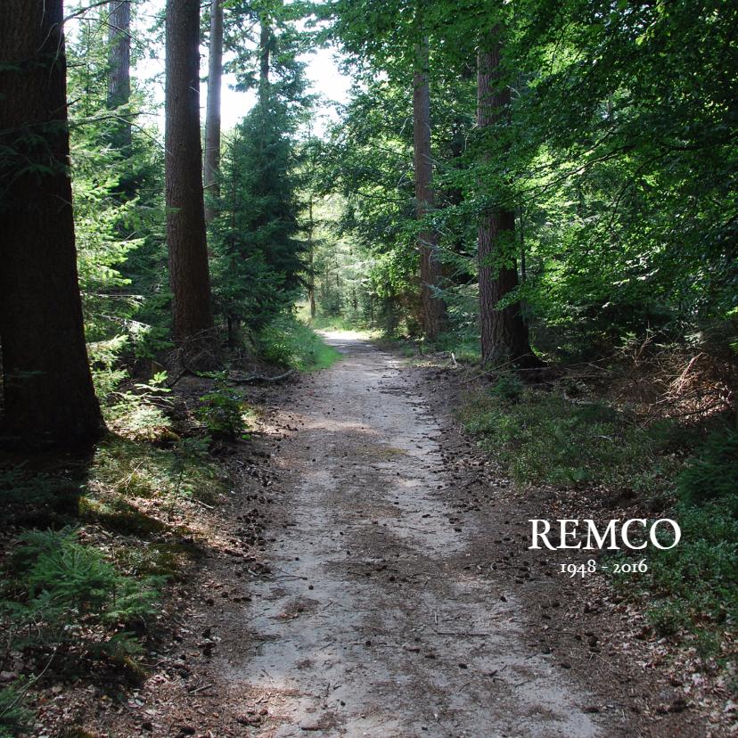 Rouwkaarten - Rouwkaart foto van het bos
