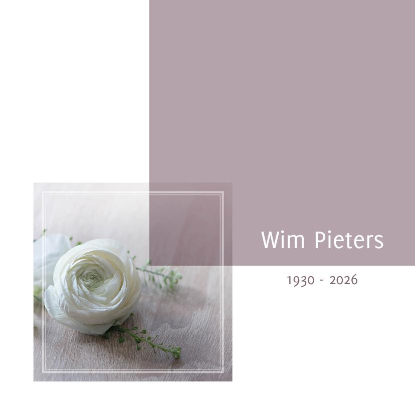 Rouwkaarten - rouwkaart foto witte roos