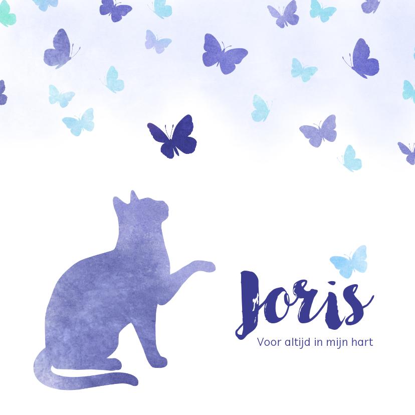 Rouwkaarten - Rouwkaart huisdier kat met vlinders