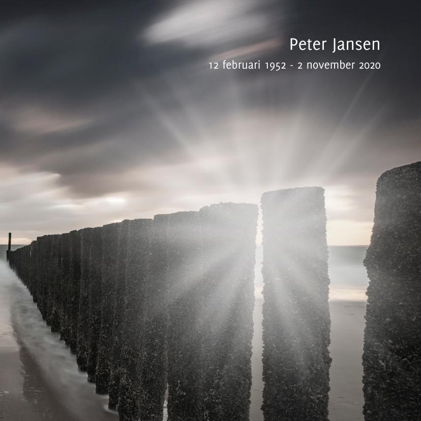 Rouwkaarten - Rouwkaart met Hollandse golfbreker en ondergaande zon