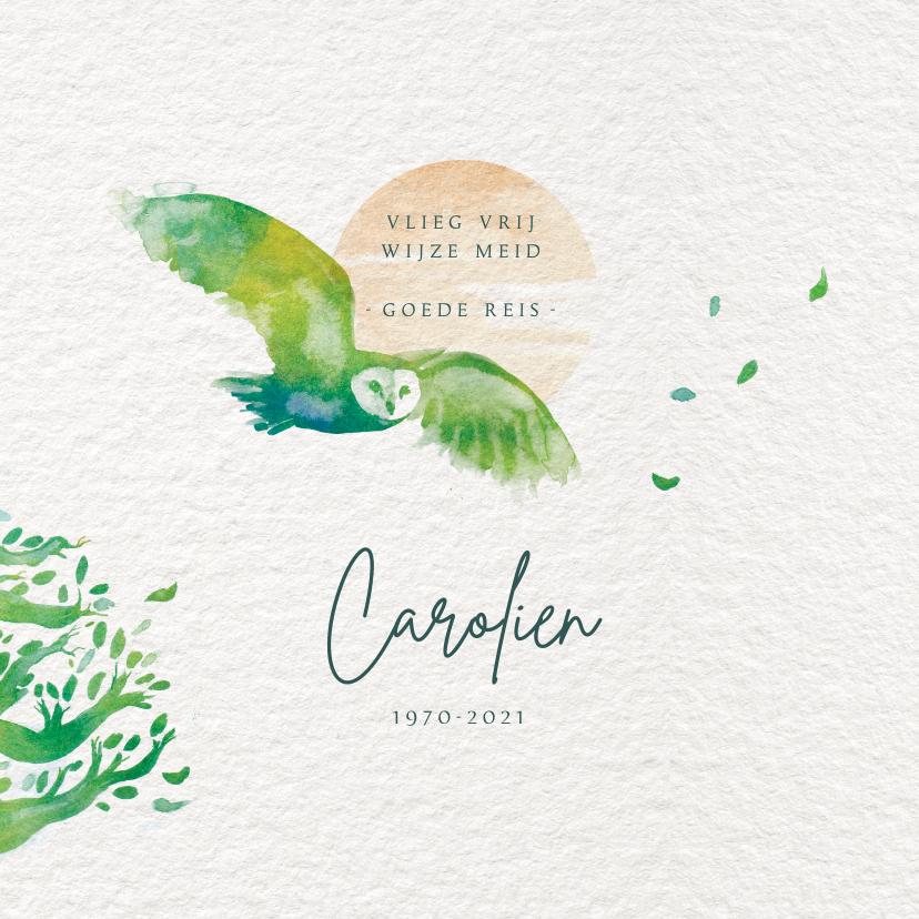 Rouwkaarten - Rouwkaart met uil en boom - vlieg vrij - met voorbeeldfoto