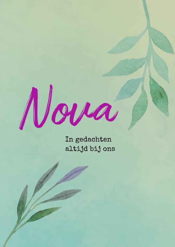 Rouwkaarten - Rouwkaart mintgroen met paars