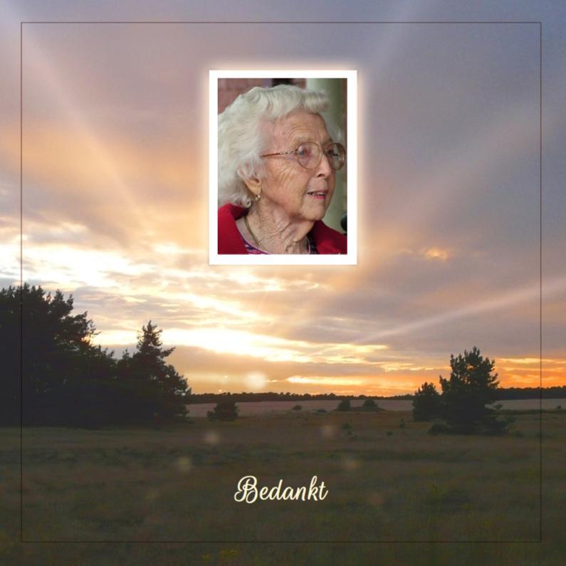 Rouwkaarten - Rouwkaart ondergaande zon en eigen foto