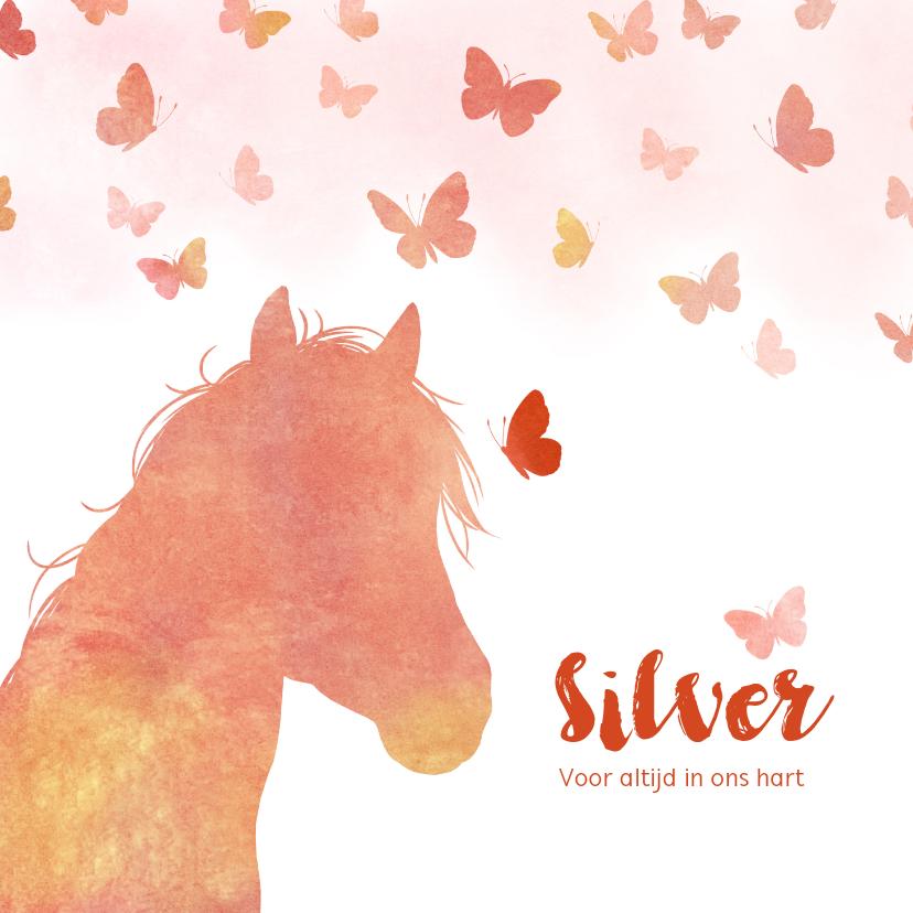 Rouwkaarten - Rouwkaart paard met vlinders