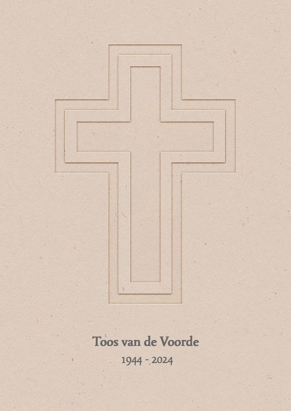 Rouwkaarten - Rouwkaart recht kruis