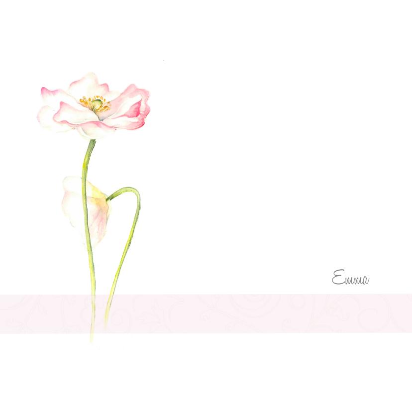 Rouwkaarten - Rouwkaart roze klaproos