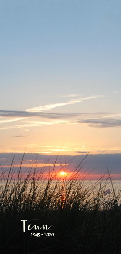 Rouwkaarten - Rouwkaart strand zonsondergang