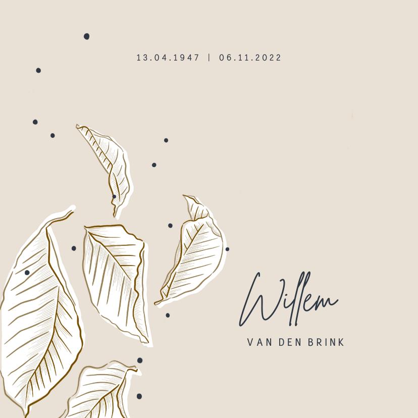 Rouwkaarten - Rouwkaart vallende bladeren stijlvol minimalistisch