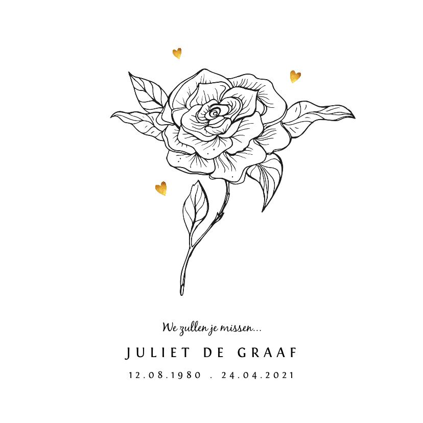 Rouwkaarten - Rouwkaart vrouw met bloem en gouden hartjes