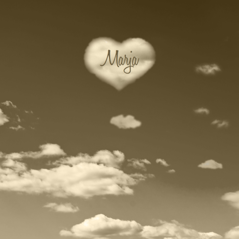 Rouwkaarten - Rouwkaart wolk in vorm van hart
